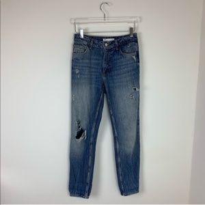 Zara High Rise Boyfriend Distressed Ripped Jeans 4